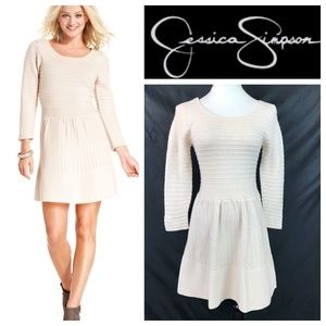 Jessica Simpson Cream Textured Knit Sweater Dress